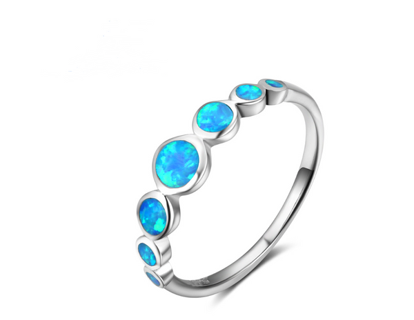 Sterling Silver Multiple Round Blue Opal Stone Rings