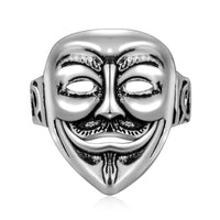 Vintage clown mask ghost head silver plated ring