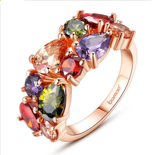 Colored zircon rings