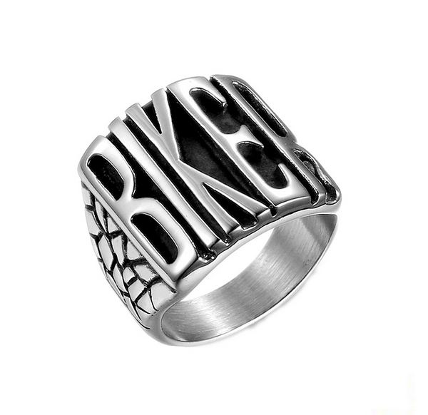 Titanium steel / stainless steel locomotive wind BIKER letter flying party men's punk ring