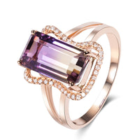 Plated 18k rose gold inlaid zircon opening ring
