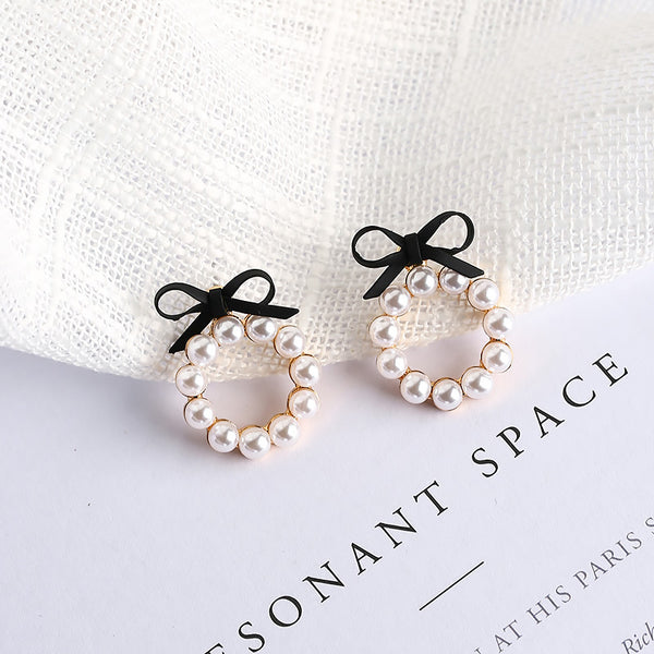 Geometric Pearl Stud Earrings Chic Cute Girl Bow Round Drop Earrings