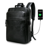 Men's backpack backpack student bag pu leather large capacity computer bag leisure travel pu backpack