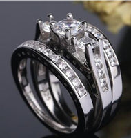 Set of rings European and American couples combination ring Engaged zircon ring