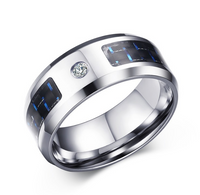 Classic Jewelry 8MM Stainless Steel Blue + Black Carbon Fiber Steel Ring Men's Jewelry R-281