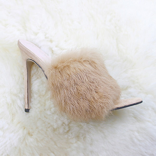 European Station Sandals Candy Color Luxury Rabbit Fur High Heel Sandals Slippers Large Women Shoes Size 35 43