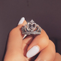 Fashion silver ring, creative jewelry, crown zircon ring female