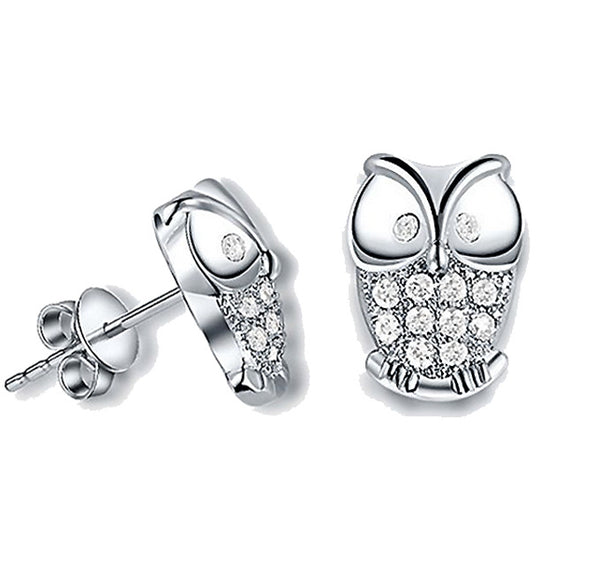 Owl Shaped Crystal Stud Earrings