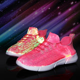 Summer Led Fiber Optic Shoes for Girls Boys Men Women USB Recharge Glowing Sneakers Man Light Up Shoes Sports Shoes