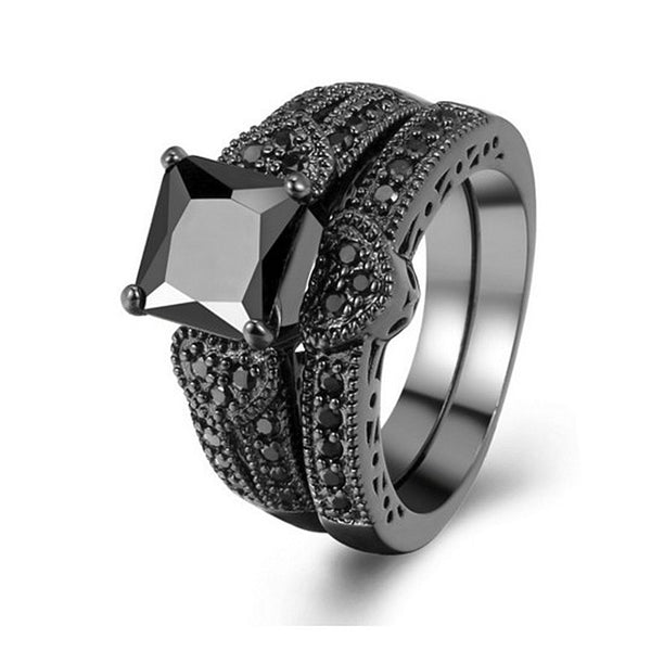 Love heart black gold two-piece ring