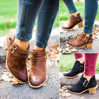 Vintage Boots Women Buckle PU Shoes Women Short Boots Square Heels Fashion Pointed Toe Ankle All Match Breathable