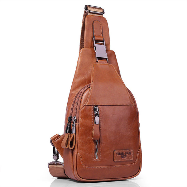 Chest bag men's oil wax pure first layer leather shoulder Messenger bag sports Korean version of the backpack outdoor bag tide