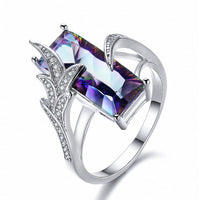 Colorful opal + white diamond leaf ring