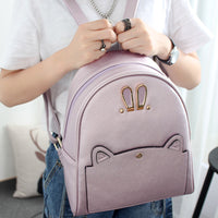 Seven princess new women's backpack leather Korean fashion handbags backpack bag bag QP1574 rabbit ears