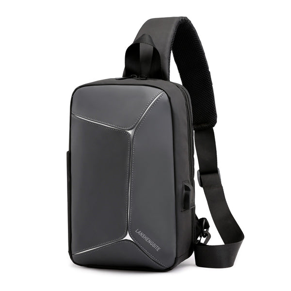 Men's shoulder bag PU leather chest bag men's Messenger bag multi-function outdoor sports backpack