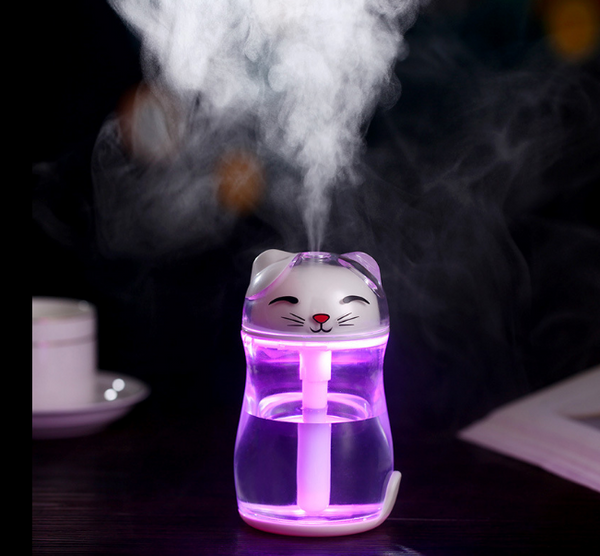 Lucky Cat Humidifier Crystal Colorful Night Lights Air Humidifier Silent Spray Diffuser Gifts