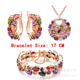 Europe and America jewelry set, fashion water crystal, African Jewelry, Bridal Necklace Set, colorful zircon three sets