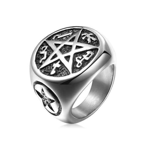 Five-star men's titanium steel ring