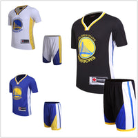 Basketball suit short sleeved suit, Warriors team uniforms, Currie Durant Green Thompson jerseys, black custom