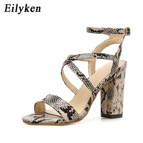 Women Summer Sandals Open Toe Snake PU Leather Shoes
