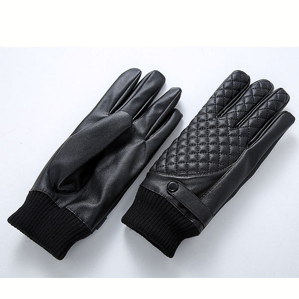 Leather glove man touch screen