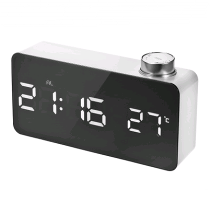 2020 new beauty mirror knob alarm clock personality creative thermometer bedside clock LED luminous student clock