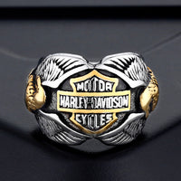Stainless steel ring wholesale European and American motorcycle ring Men's double-headed eagle style