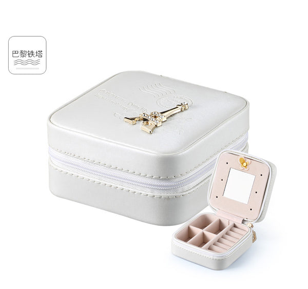 Women Jewelry Organizer Box PU Leather Travel Makeup Cosmetic Case with Mirror & Zipper