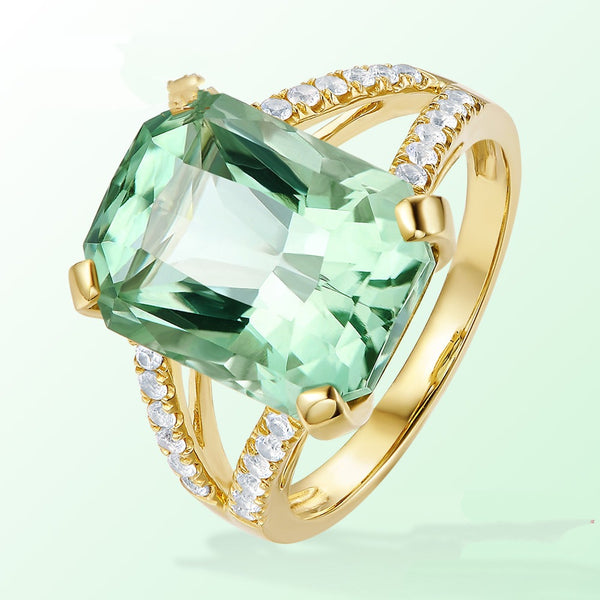 Zhen Rong new European and American fashion engagement rings mosaic green tourmaline ornaments wholesale a replacement
