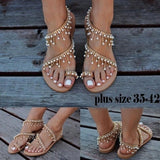 Vintage Fashion Women Leather Beading Flat Sandals Women Bohimia Beach Sandals Shoes