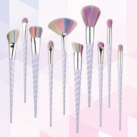 Hot spot 10 seven color spiral pattern make-up brush and ten Unicorn makeup brush conical make-up tools