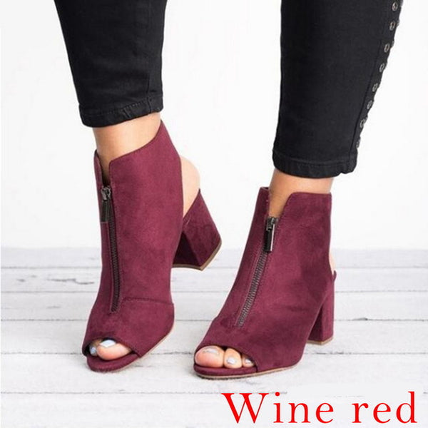Ankle Boots Faux Suede Leather Casual Open Peep Toe High Heels Zipper Square Rubber Women Shoes