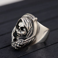 S925 Silver Vintage Style Men's Openwork Skull Ring