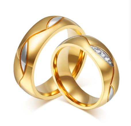Classic Couple Rings For Lover's Cubic Zirconia Wedding Ring Gold-Color Stainless Steel Anel Jewelry