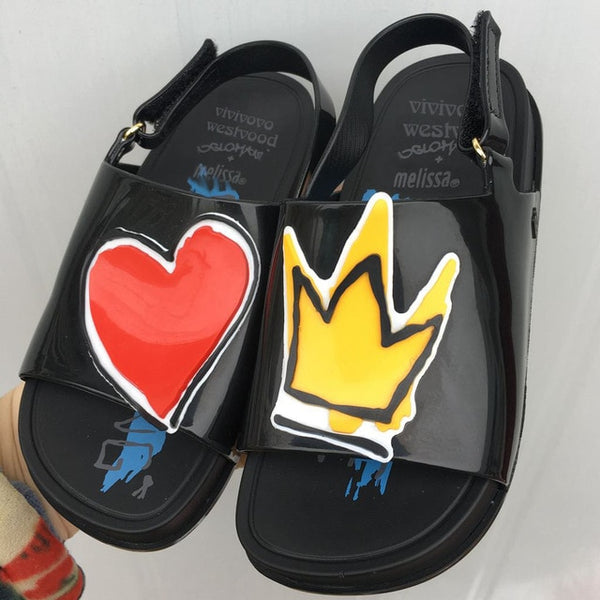 Crown and Red Heart Mini Sandals Summer Rain Shoes Jelly Shoe