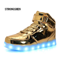 Led Children Shoes 2018 USB Charging Basket Shoes With Light Up Kids Casual Boys&Girls Luminous Sneakers Gold silver