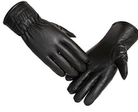 Winter plus velvet warm leather PU outdoor riding sports full touch screen three strips of leather gloves