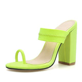 Eilyken Summer Slippers Sandals Flip Flop Square heel Stretch Fabric Hollow Women Shoes Sexy Slippers Pumps Fluorescent green