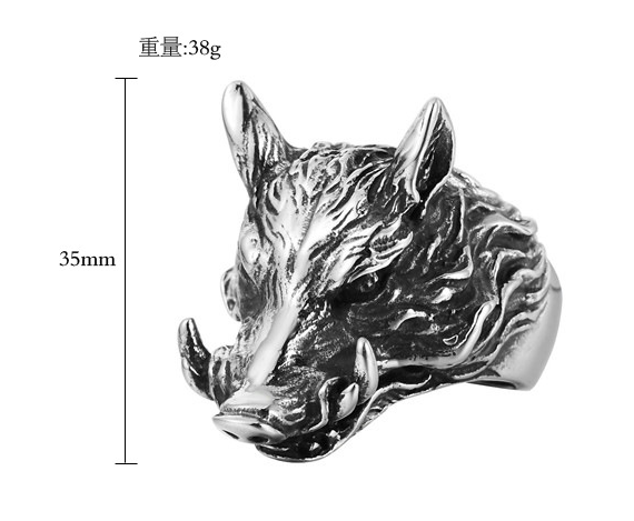 European and American personality vintage wild boar men's titanium steel ring dark color jewelry