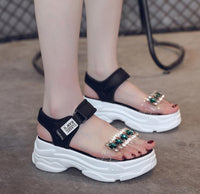 Summer Female Sport Sandals Fashion Rhinestone Open Toe Platform Shoes Ladies Beach Shoes Women Wedges Casual Shoes