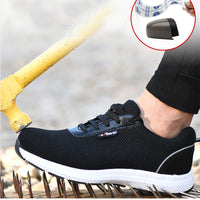 Men's Safety Shoes Men Steel Toe Cap Breathable Mesh Ultral Light Casual Shoes Labor Insurance Protective Steel Toe Work Shoes