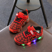 1-14 Years Old Luminous Sneakers Boy Girl Cartoon LED Light Up Shoes Glowing with Light Kids Shoes Children Led Sneakers Brand