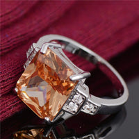 Coloured agate ring with AAA zircon rhodium-plated ring