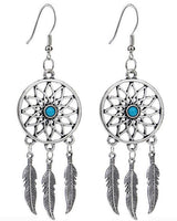 A hollow dream catcher earrings fashion for women with feather dangle silver long earrings earrings earrings brincos suspended