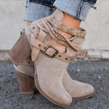 Buckle Strap Women Ankle Boots Casual Platform Shoes Woman High Heels Western Boots Slip On Winter Women Shoes