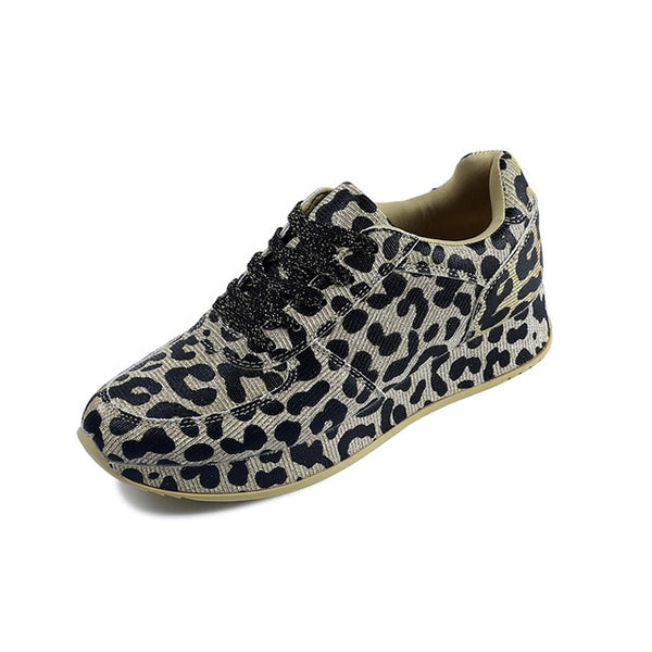 Sneakers Shoes Spring Autumn Leopard Pattern Design Fabric Comfortable Casual Sneakers Flats Shoes Women