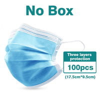 100pcs Filter Protective Mask Quality 3 layer Disposable Anti Droplets Dust Breathable Mask Safety  Mouth Face Masks respirator