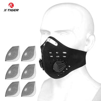 X-Tiger Washable Sports Training Cycling Mask With Filters Activated Carbon PM2.5 Anti-Pollution Cycling Face Mask With Earloop