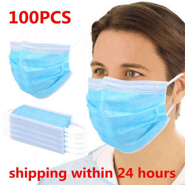100pcs Fast shipping 3 Layer Non-woven Anti-Dust Anti-Saliva Mouth Mask Thickened Disposable Face Masks Safety Mask