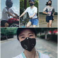 ROCKBROS Cycling Face Mask Dust Mask Bike Active Carbon With Filter Mask Breathing Valve Anti-Pollution Protective Sports Mask